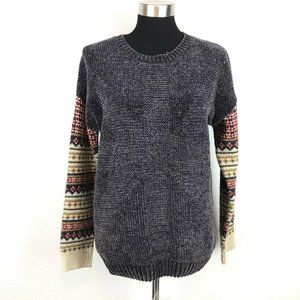 Mystree Grey Chenille Sweater Patterned Sleeves XS